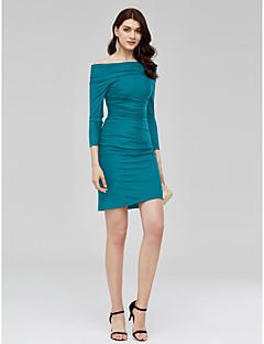 billiga Den lilla svarta-Åtsmitande Off shoulder Kort / mini Jersey Cocktailfest Klänning med Veckad av TS Couture®