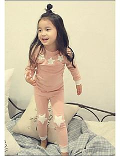 Para Meninas Roupa de Dormir céu Poliéster Manga Longa Desenho Verde Rosa