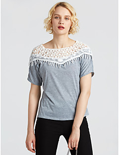 Women's Going out Casual Blouse,Solid Off Shoulder Half Sleeves Cotton