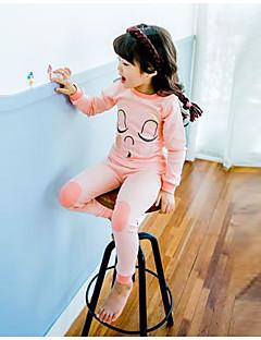 Tyttöjen Piirretty Uniasut Polyesteri Pitkähihainen Cartoon Punastuvan vaaleanpunainen