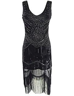 Vintage Gatsby Kostuum Vrouwelijk Feestkostuum Flapper Dress Zwart Vintage Cosplay Mouwloos Koude schouder Tot de knie