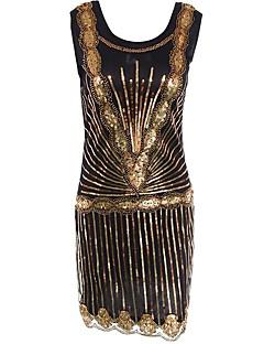 Vintage Gatsby Kostuum Vrouwelijk Feestkostuum Flapper Dress Gouden Vintage Cosplay Mouwloos Koude schouder Tot de knie