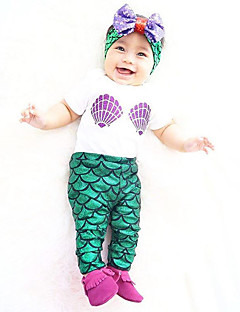 baratos Fantasias de Crianças-The Little Mermaid Roupa Crianças Natal Baile de Máscaras Festival / Celebração Trajes da Noite das Bruxas Verde Estampa Colorida Roupa