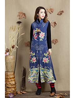 Naiset Pitkä hiha Stand-kaula-aukko Puuvilla Polyesteri Syksy Vintage Päivittäin Liivi,Painettu Pitkä