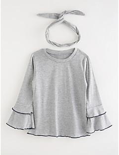 billige Pigetoppe-Pige T-shirt Ensfarvet, Bomuld Efterår Tegneserie Navyblå Grå