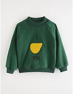 billige Hættetrøjer og sweatshirts til piger-Pige T-shirt Ensfarvet Geometrisk, Bomuld Efterår Tegneserie Grøn