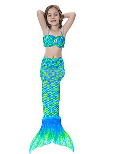 billige Barnekostymer-The Little Mermaid Badetøy / Bikini Jul / Maskerade Festival / høytid Halloween-kostymer Grønn / Blå / Fuksia Ensfarget / Fargeblokk / Regnbue Havfrue og Trompet Kjole Slip / Bikini / Paljetter