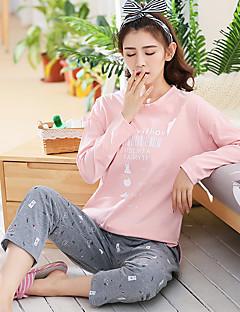 baratos Pijamas Femininos-Mulheres Decote Redondo Conjunto Pijamas - Estampado