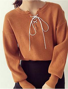 tanie Swetry damskie-Krótki Pulower Damskie Codzienne Prosty Jendolity kolor,Okrągły dekolt Długi rękaw Kaszmir Jesień Gruby/a Średnio elastyczny/a