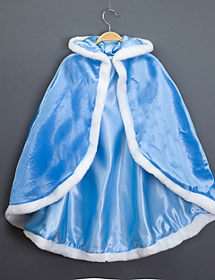 cheap Kids Halloween Costumes-Princess Fairytale Elsa Cloak Kid's Christmas Masquerade Birthday Festival / Holiday Halloween Costumes Blue Fuchsia Color Block Cover Up