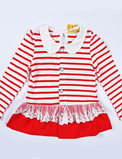 cheap Girls' Clothing-Girls' Striped Sweater & Cardigan, Cotton Spring Fall Long Sleeves Cute Active Blue Red