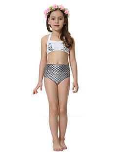 cheap Girls' Clothing-Girls' Color Block Swimwear,Polyester Nylon White
