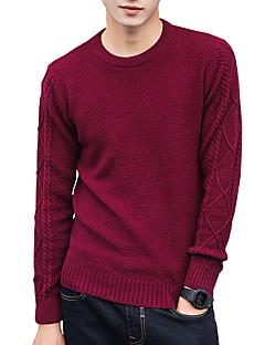 baratos Suéteres & Cardigans Masculinos-Homens Trabalho Fofo Moda de Rua Manga Longa Pulôver - Sólido