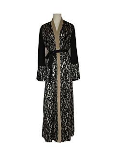 tanie Etniczne & Cultural Kostiumy-Moda Jalabiya Sukienka Kaftan Abaya Arabian Dress Damskie Festiwal/Święto Kostiumy na Halloween Black Koronkowe