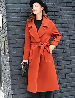 レディース カジュアル/普段着 冬 秋 コート,ストリートファッション シャツカラー ソリッド ロング カシミヤ 長袖 リボン