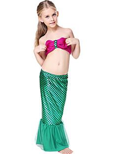 billige Halloweenkostymer-The Little Mermaid Bikini Badetøy Barne Jul Maskerade Festival / høytid Halloween-kostymer Grønn Fargeblokk Bedårende Bikini