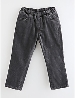 billige Bukser og leggings til piger-Pige Bukser Ensfarvet Prikker Stribet, Bomuld Forår, Efterår, Vinter, Sommer Mørkegrå
