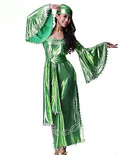 Marilyn Monroe Vintage Zigeuner Kostuum Vrouwelijk Outfits Groen Vintage Cosplay Chinlon Nylon Halve mouw Klok Tot de enkel