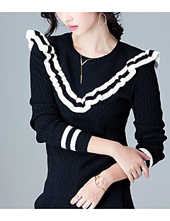 お買い得  レディースセーター-女性用 長袖 プルオーバー プリント