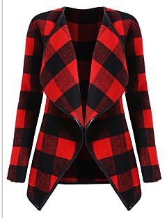 cheap -Women's Daily Weekend Casual Street chic Winter Fall Plus Size Regular Jacket, Plaid Notch Lapel Acrylic