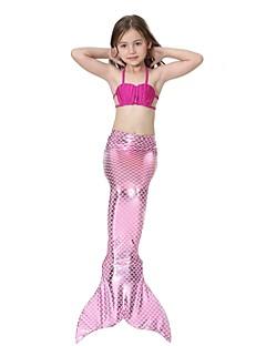 billige Halloweenkostymer-The Little Mermaid Bikini Badetøy Barne Jul Maskerade Festival / høytid Halloween-kostymer Grønn Blå Rosa Fuksia Ensfarget Havfrue og