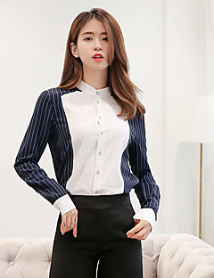 Women's Casual/Daily Work Street chic Spring Summer Shirt,Striped Shirt Collar Long Sleeve Cotton Polyester Medium