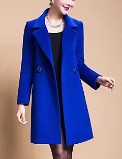 billige Plusstørrelser til kvinder på udsalg-Overdimensionerede, Dame Ensfarvet Gade I-byen-tøj Plusstørrelser - Frakke Uld