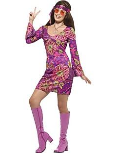 Vintage Hippie Jaren '70 Kostuum Vrouwelijk Feestkostuum Kleding Paars Vintage Cosplay Lange mouw Klok Kort / Mini