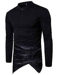 Herren Einfarbig Punk & Gothic Lässig/Alltäglich T-shirt,Ständer Langärmelige Baumwolle 20D