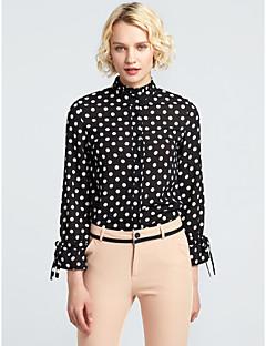 cheap Women's Tops-Women's Polyester Blouse - Polka Dot Floral Stand