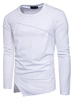 Herren Solide Street Schick Lässig/Alltäglich T-shirt,Rundhalsausschnitt Frühling Herbst Langärmelige Baumwolle Undurchsichtig