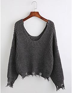 baratos Suéteres de Mulher-Mulheres Manga Longa Pulôver - Sólido Geométrica, Franjas