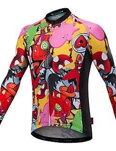 billige Sett med sykkeltrøyer og shorts/bukser-Malciklo Langermet Sykkeljersey med bib-tights - Oransje Tegneserie Sykkel Jersey, Fort Tørring, Anatomisk design, Refleksbånd