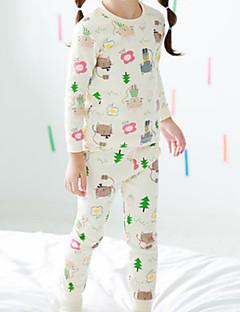 Para Meninas Roupa de Dormir Floral Estampa Animal Algodão Manga Comprida Desenho