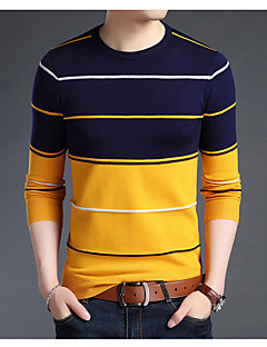 cheap Hoodies & Sweaters-Men's Basic Long Sleeve Pullover - Striped, Print Round Neck