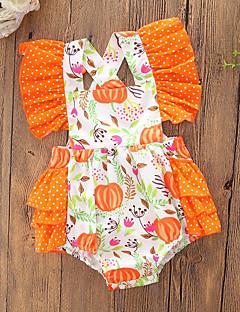 billige Babytøj-Baby Pige En del Afslappet/Hverdag Ferie Geometrisk Farveblok, Bomuld Polyester Sommer Uden ærmer Simple Sødt Aktiv Orange