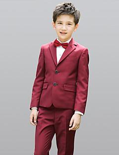 お買い得  子供用リングベアラースーツ-バーガンディー ポリエステル リングベアラースーツ - 5 含まれています ジャケット ベスト シャツ パンツ 蝶ネクタイ