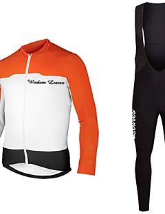 billiga Cykling-Wisdom Leaves Långärmad Cykeltröja med Haklapp-tights - Orange / Mörkblå Cykel Tröja / Klädesset Polyester Ensfärgat / Elastisk