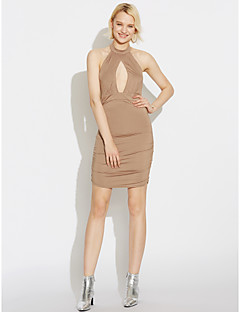 cheap Women's Dresses-Women's Club Bodycon Dress - Solid Colored Backless Ruched High Rise Halter