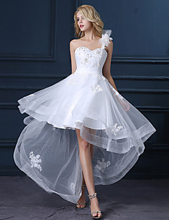 cheap Reception Dresses-A-Line One Shoulder Asymmetrical Satin Tulle Wedding Dress with Sequin Appliques by LAN TING BRIDE®