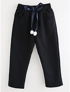 billige Bukser og leggings til piger-Pige Bukser Ensfarvet, Bomuld Efterår Simple Lyserød Navyblå Grå