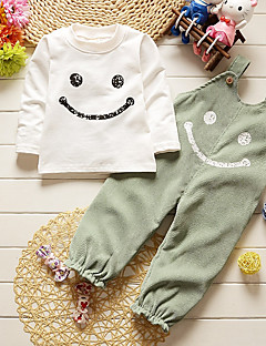 Girls' Striped Clothing Set,Cotton All Seasons Long Sleeve Simple Cute Street chic Green Gray Wine