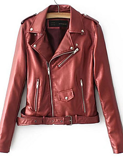 Women's Casual/Daily Simple Winter Fall Leather Jacket,Solid V Neck Long Sleeve Long PU Oversized
