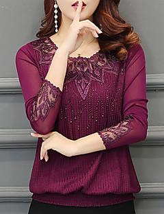 preiswerte T-Shirt-Damen Solide Aktiv Ausgehen Lässig/Alltäglich T-shirt,Rundhalsausschnitt Winter Herbst Langärmelige Polyester Dick