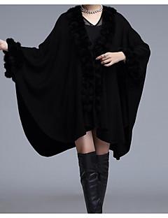 저렴한 -여성 솔리드 V 넥 긴 소매 모피 코트,단순한 캐쥬얼/데일리 보통 인조 모피 겨울 가을 모피 트림