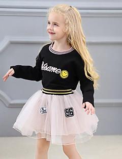 billige Tøjsæt til piger-Pige Tøjsæt Patchwork Broderi, Rayon Polyester Forår Efterår Langærmet Sødt Gade Sort Lyserød