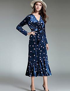 Kadın Günlük/Sade Basit Kılıf Elbise Yuvarlak Noktalı,Uzun Kol V Yaka Maksi Polyester Kış Sonbahar Normal Bel Mikro-Esnek Opak