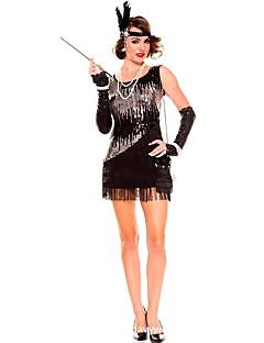 Gatsby 1920'ler Kostüm Kadın's Flapper Elbise Parti Kostümleri Kokteyl Kıyafeti Siyah Eski Tip Cosplay Polyester Kolsuz Kısa / Mini