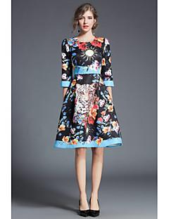 billige Date Kjoler-Dame Chinoiserie A-linje Kjole Trykt mønster