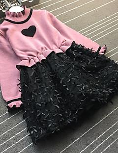 baratos -Menina de Vestido Casual Estampado Retalhos Inverno Outono Poliéster Manga Longa Simples Marron Vermelho Lavanda